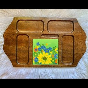 Vintage Hardwood Cheese Tray w/Floral Ceramic Tile